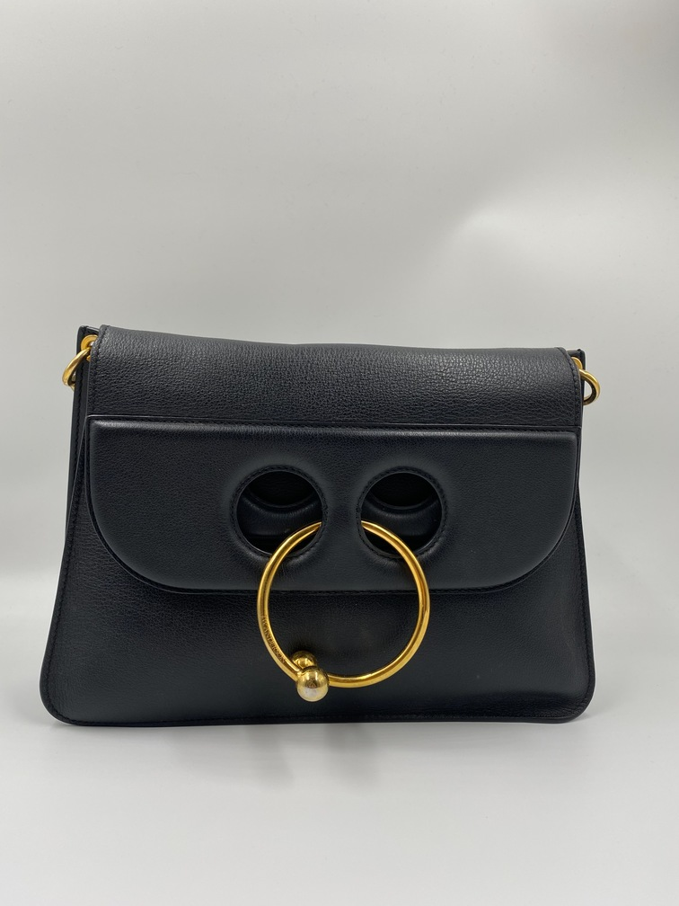 JW Anderson Pierce Bag Medium, Black Leather